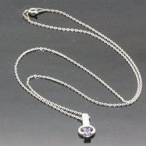 Jewelry - Sterling Silver Pendant on Necklace W purple Stone